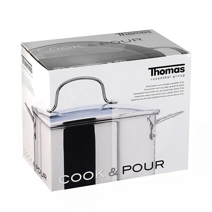 Thomas Rosenthal olla de acero inoxidable con tapa de cristal - 24 cm: Amazon.es: Hogar