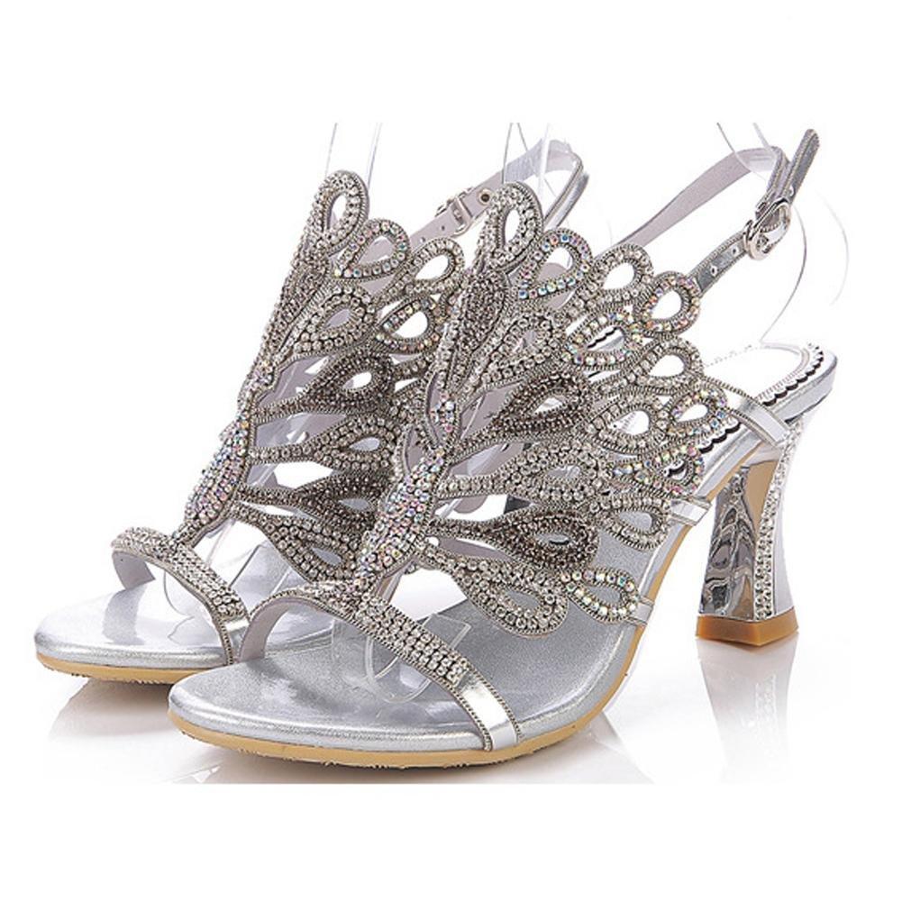 Luxuriouml;s Kristall Dicke High Heels Diamant Sandalen Handgefertigt Leder Frau Abend Bankett Party Nachtclub Pumps Hohl Schnalle Hausschuhe Schuhe34|silver