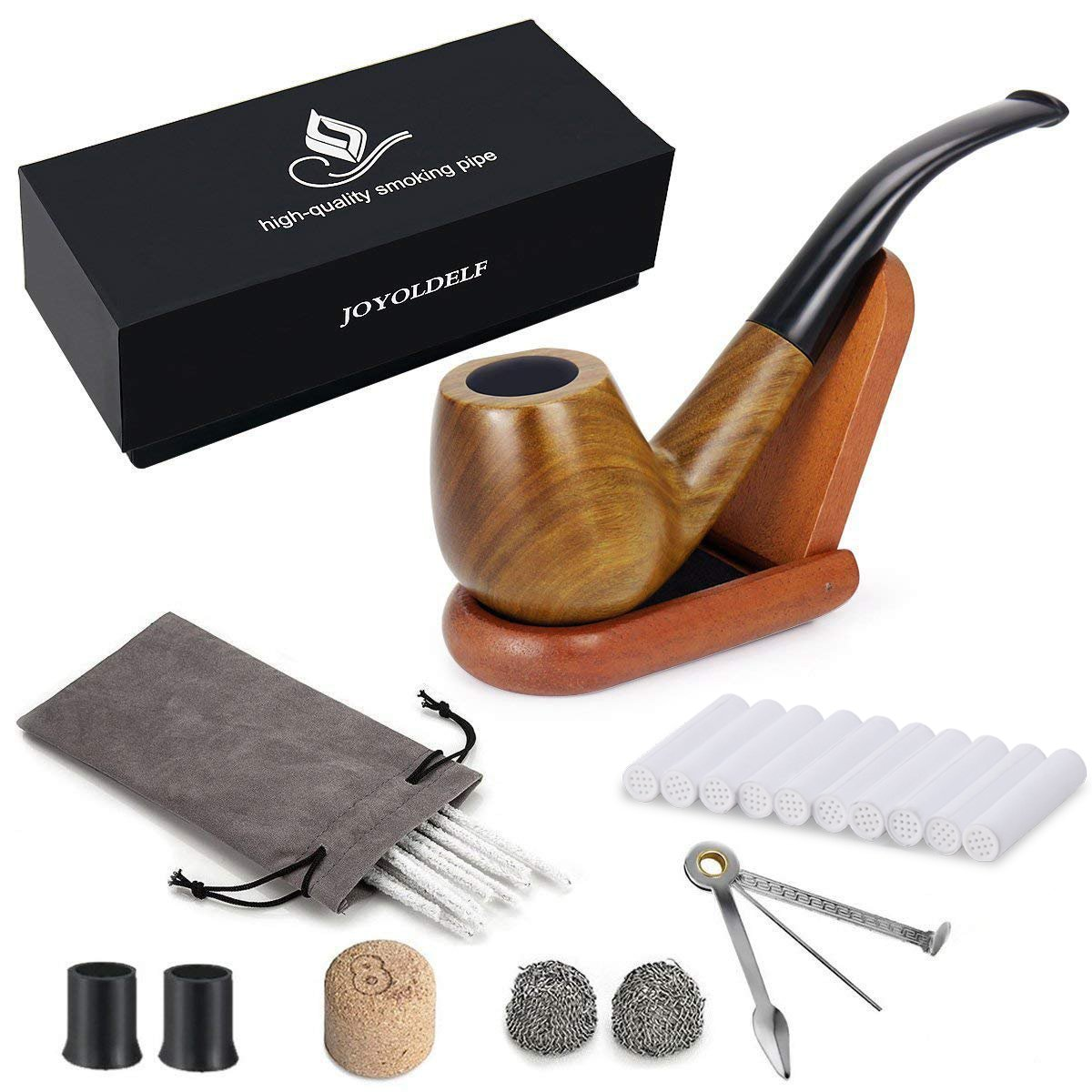 Joyoldelf Smoking Pipe Set with Wooden Stand 3-in-1 Pipe Scraper 10 Pipe Cleaners & Pipe Filters 2 Pipe Bits & Metal Balls Cork Knocker Bonus a Pipe Pouch