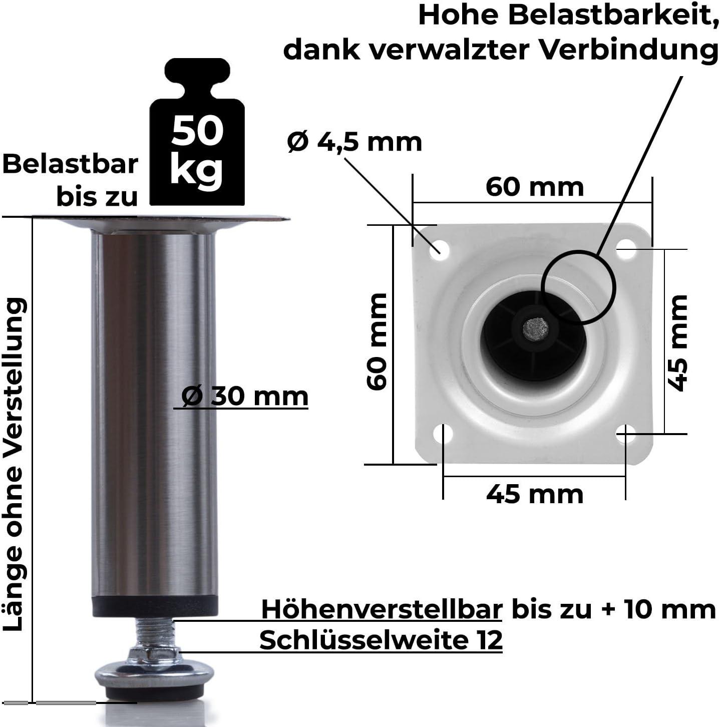 M/öbelfu/ß verstellbar Sofafu/ß belastbar bis 50 kg Stahlrohrfu/ß Sockelfu/ß Tischbein Rund Edelstahl Geb/ürstet H/öhe 8 cm