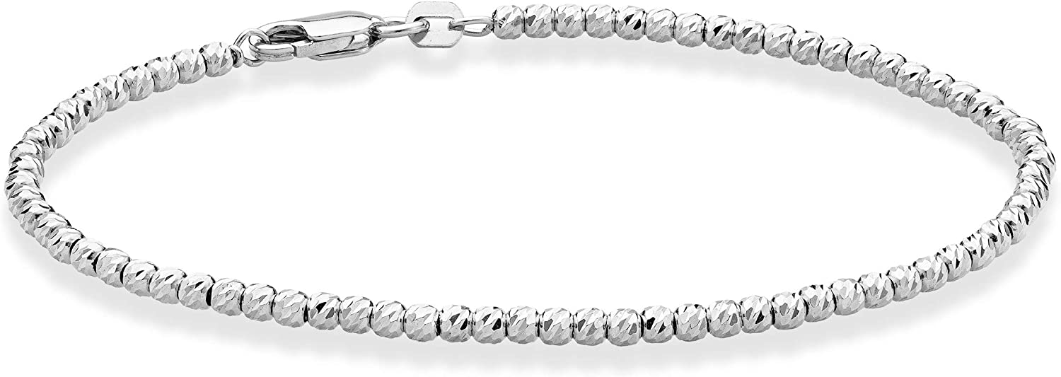 Miabella 925 Sterling Silver Diamond-Cut 2.5mm Bead Ball Chain Bracelet for Women Teen Girls 6.5, 7, 8 Inch Choice of 18K Gold Plated or Silver