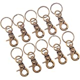 PandaHall Elite 10 Pcs Set Iron Swivel Snap Hooks Clasps with Key Rings Antique Bronze 63x25mm