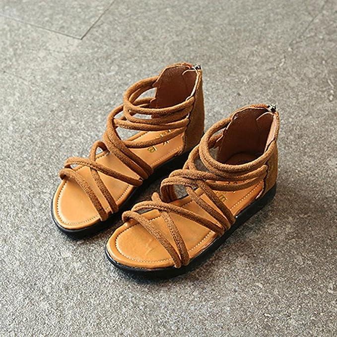 bdbbafc00453e Ouneed® EU21-30 Bebe Fille ETE Sandales Plage Cuir Chaussures Plat  Gladiateur Sandales  Amazon.fr  Vêtements et accessoires