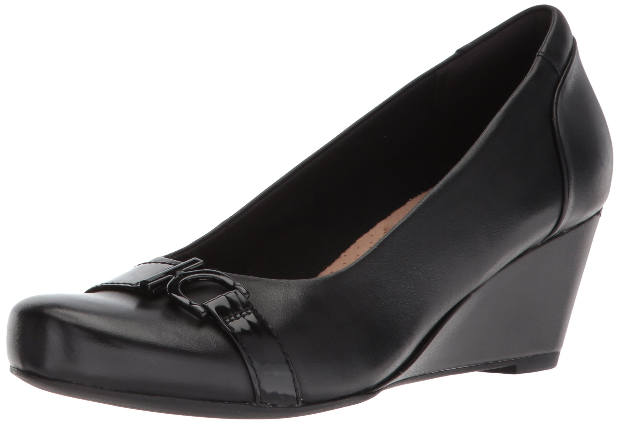 CLARKS Women's Flores Poppy Pump, Black Leather, 7.5 B(M) US