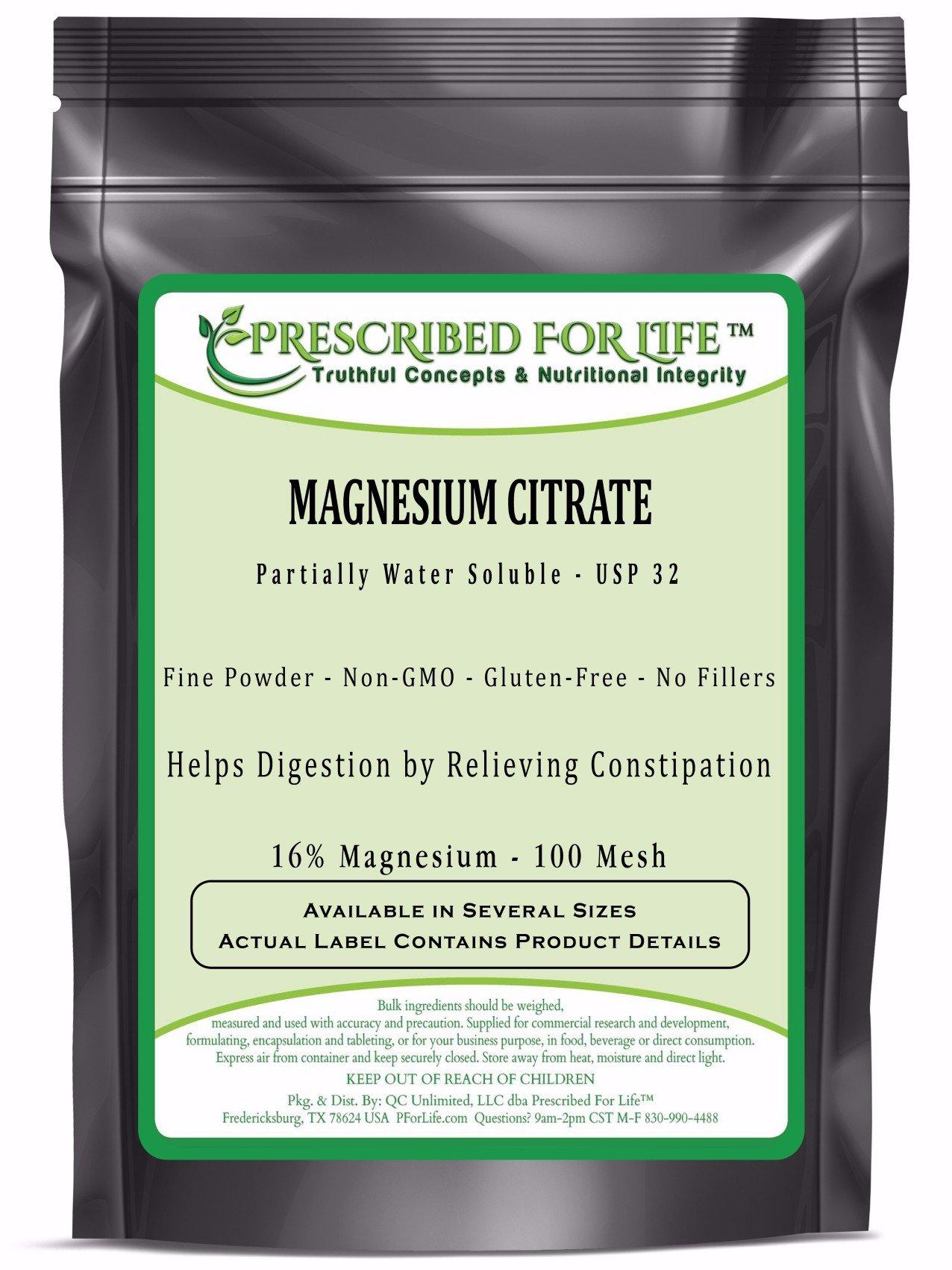 Magnesium Citrate Powder - Natural USP32 TriMagnesium Citrate 100 Mesh - 16% Mg, 55 lb
