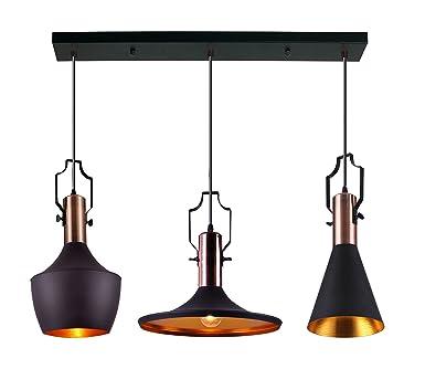 MSTAR Industrial Pendant Light Black Metal Antique Pendant Ceiling Light Fixture for Kitchen Bar Restaurant Dining Room ULP6285BK