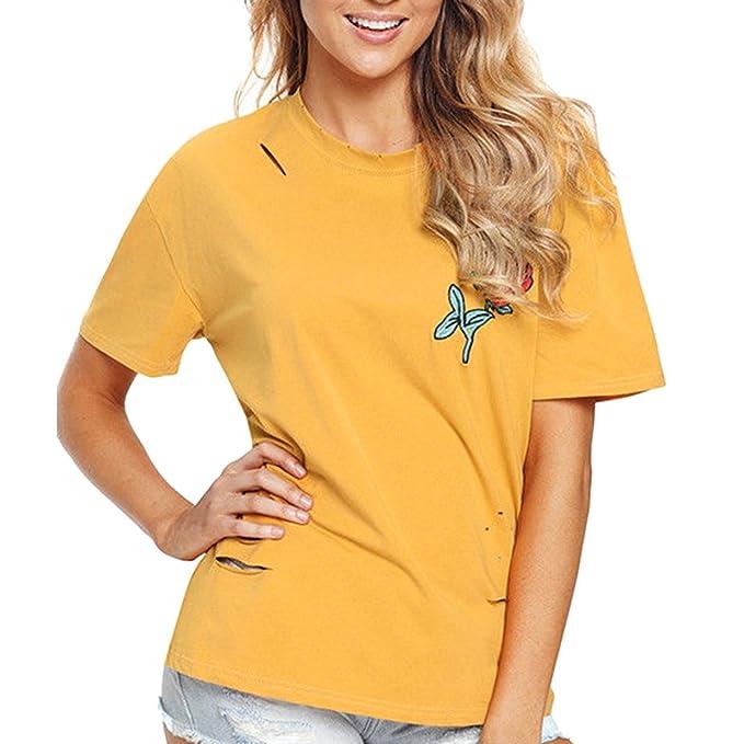 Ropa Camisetas Mujer❤️EUZeo❤️Camisas Mujer Verano Elegantes Ronda Blusa de Cuello Casual Bordado