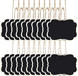 ANPHSIN Pack of 40 Mini Hanging Erasable Chalkboards- 2.5 × 3.5'' Double Sided Blackboard with String Message Board Hanging Signs for Weddings, Food Label, Price Tags, Menus, Kids Crafts