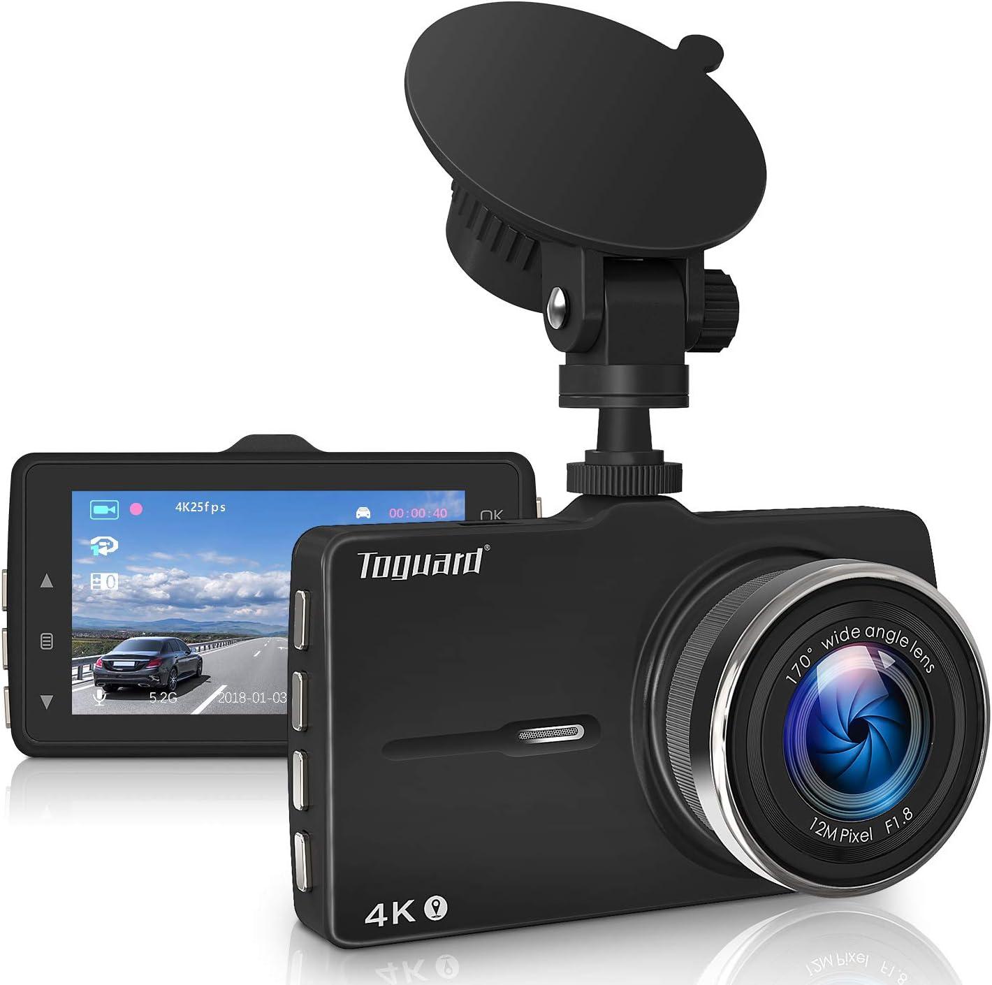 TOGUARD 4K Dashcam Voiture Enregistreur de Conduite Ultra HD 3 pouces Dash-Cam pour voiture 170 degr/és Angle Voiture Cam/éra de Bord avec G capteur Cam/éra de Voiture WDR D/étection de Mouvement