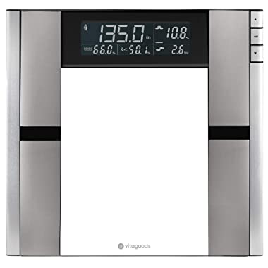 Vitagoods Form Fit Digital Scale and Body Analyzer - Tracks Body Fat, Weight, Muscle/Bone Mass, Water Weight - 397 Pound Capacity