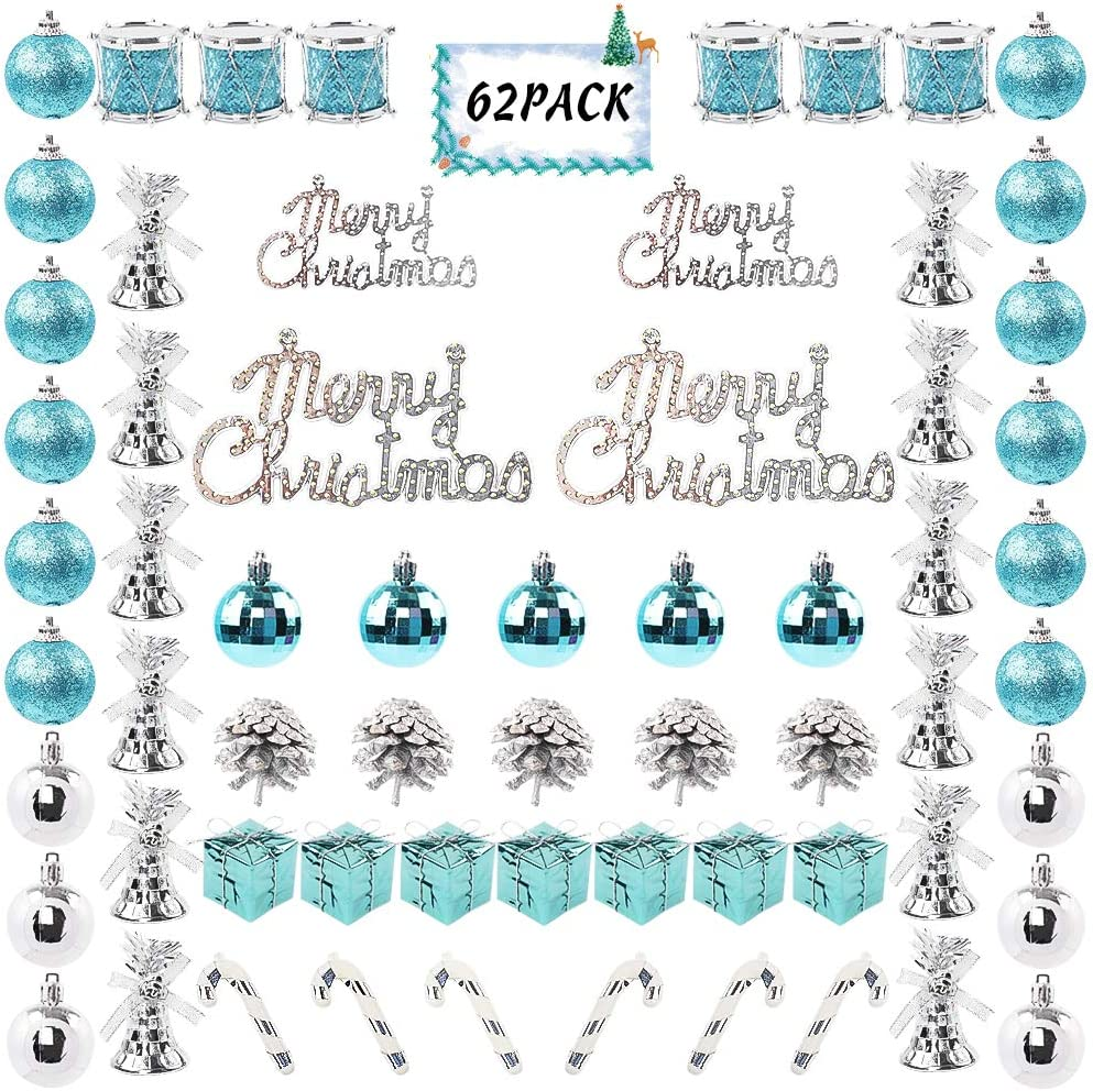 FUNARTY 62ct Christmas Ball Ornaments Assorted Shatterproof Christmas Tree Balls Decorations with Hand-held Gift Package for Xmas Tree Holiday Wedding Party (Blue and Silver)