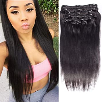 Amazon.com   Tinashe 22 Inch Clip in Hair Extensions Human Hair Deals Remy  Clip in Hair Straight 10 Pieces For Sale Thick Cheap(22 inch bf1c71be7