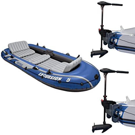 Intex Excursion Inflatable Rafting Fishing 4 Person Boat w// Oars /& Pump 2 Pack