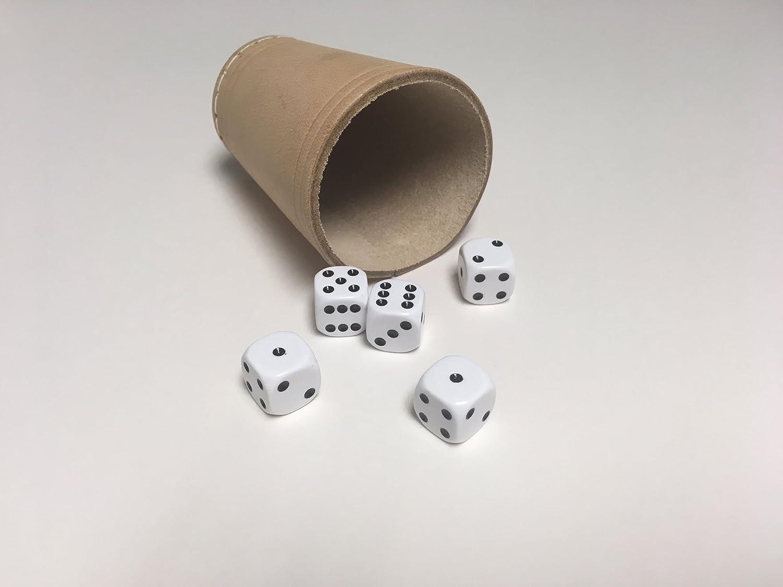 W/ürfel Yacht Spiel-Leder-W/ürfelbecher natur mit 5 W/ürfeln