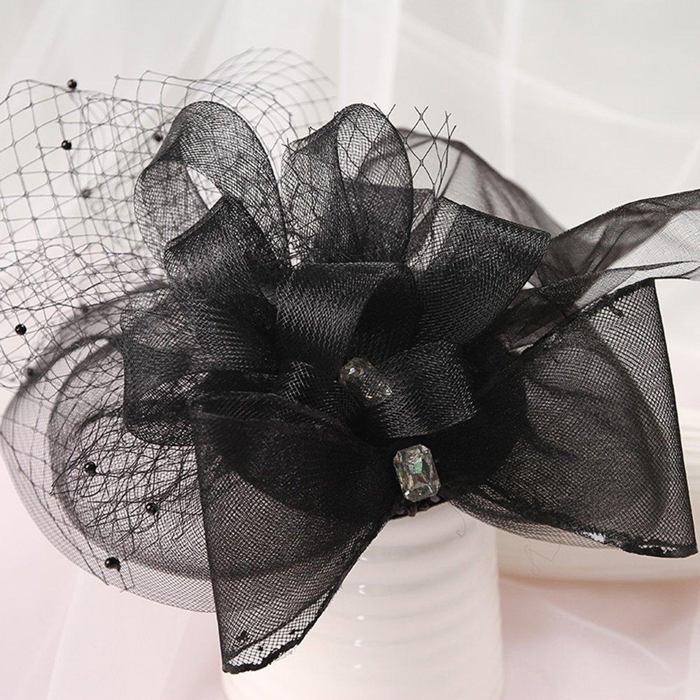 Accessori di vestito da cerimonia nuziale handmade dei cappelli di filato di seta del merletto nero coreano dei monili della sposa