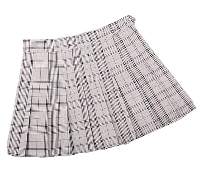 6720642fdd Womens A-Line Mini Plaid School Uniforms Fashion Pleated Skirt at ...