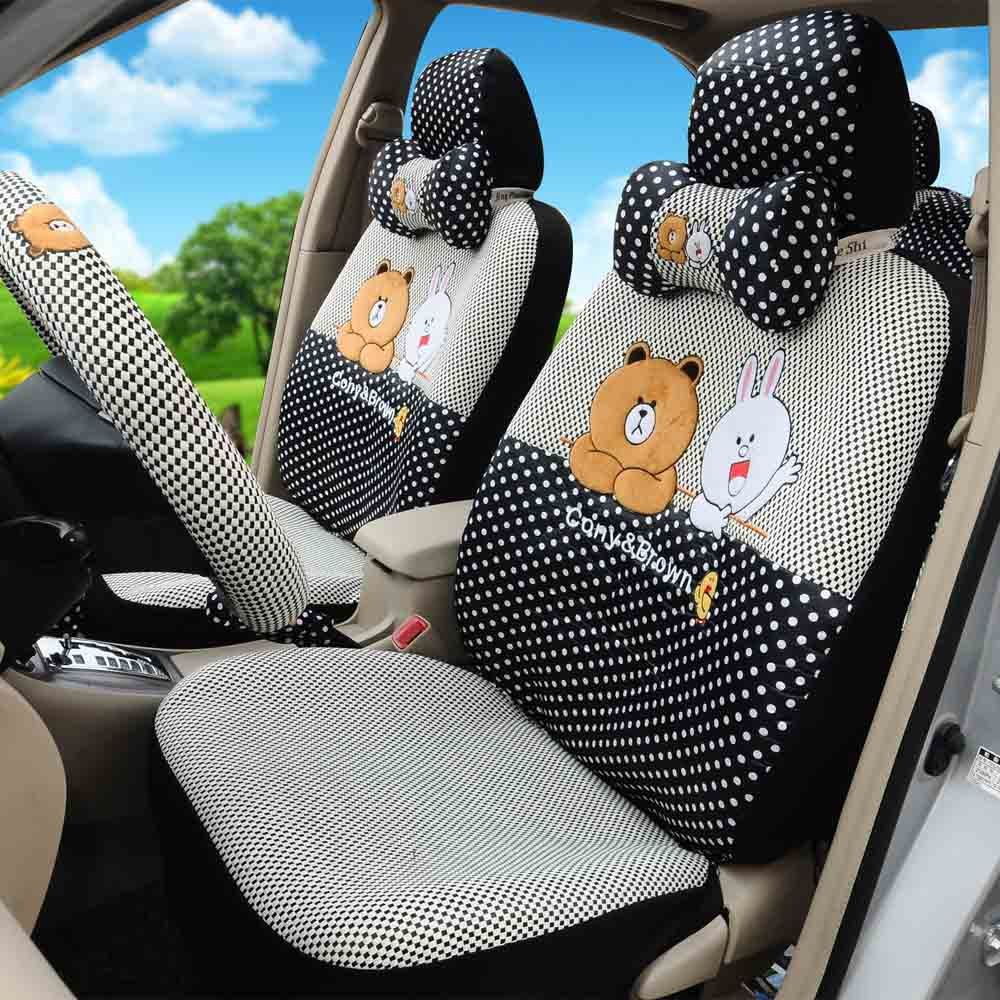 1 Set Fashion Cartoon Car Seat Covers Car Steering Wheel Cover Seat Belt Covers Hand Brake Cover by PPSEX