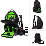 Professional DSLR SLR Sling Camera Bags Travel Outdoor Backpack Knapsack with Waterproof Cover for Sony Canon Nikon Olympus Camera and Camera Accessories (Green)