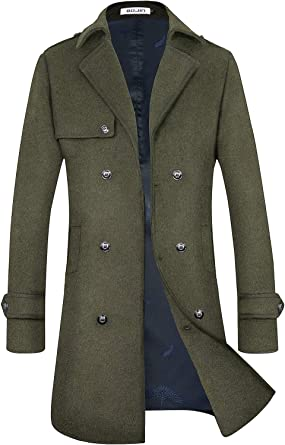 Mens Wool Coat Trench Blend Long Top Pea Coat Slim Fit Double Breasted Classic Stylish Business Overcoat