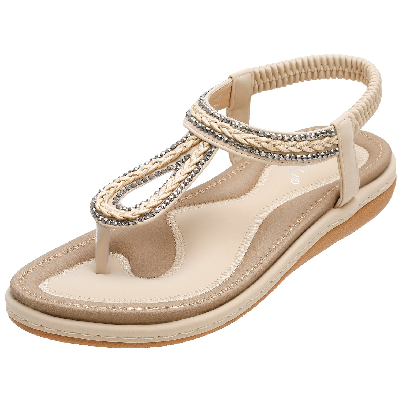 cc34571351ed THE BOHEMIAN RHINESTONE GEMSTONE DESIGN --- This summer flat sandals for  women