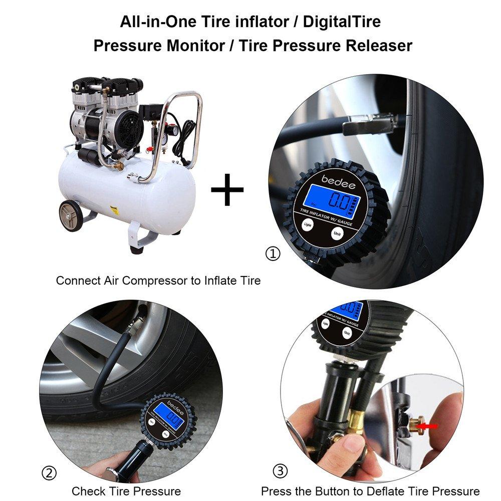 bedee Manómetro Digital Medidor de Presión de Neumáticos, Medidor Digital de Ruedas Llantas 200 PSI Alta Preciso con Pantalla LCD, para Coche Motocicletas Automóviles