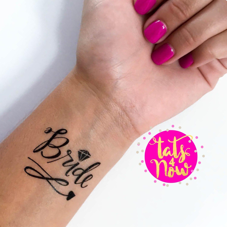 Amazon.com : Black bachelorette team bride tattoo, Set of 16 ...