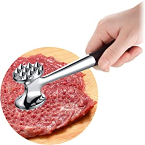 Heavy Duty Meat Tenderizer, Cozysmart Double Sided Meat Mallet & Pounder Tool, Rust Proof Zinc Alloy Kitchen Hammer with Ergonomic Rubber Handle for Tenderizing Steak, Beef, Chicken, Pork
