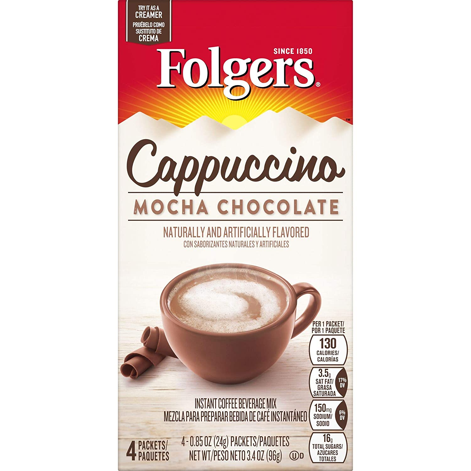 Folgers Mocha Chocolate Flavored Cappuccino Mix Packets.85 Ounce, 4 Packets, Packaging May Vary