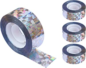 iFealClear Bird Reflective Scare Tape, Dual-Sided Pigeon Scare Tapes for Garden, Farm, 262ft x 4Roll Reflective Scare Tape Outdoor to Keep Away Woodpecker, Blackbirds, Grackles, Herons (4 Pack)