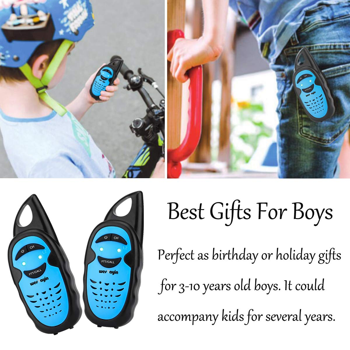 WES TAYIN Upgraded Walkie Talkies for Kids, Up to 2-Mile and 3 Channels Easy to Use Walkie Talkies for Toddlers, Toy Walkie Talkies for Little Hands Boys Gifts by WES TAYIN (Image #6)