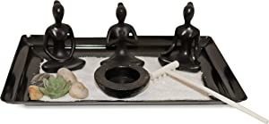 Rectangle Mini Yoga Style Tabletop Zen Garden Set with Accessories, Home and Office Decor