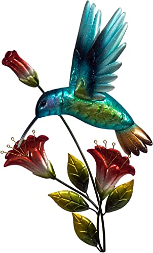 Hummingbird With Flowers Wall Decor – 3D Metal Design – Hand-Painted 13 x 19 Farmhouse or Home Decoration – Indoor or Outdoor Display Wall Art Hanging in Traditional Bird Colors