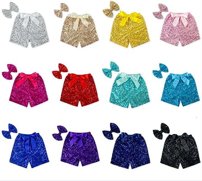 a71068db8 Amazon.com: Girls Glittery Sequin Shorts with Bow 2PC Set for 12M-6T ...
