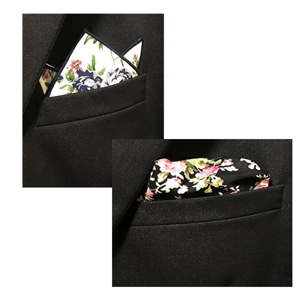 BonjourMrsMr Men's Business Suit Casual Floral Cotton Pocket Square Handkerchiefs Set by BonjourMrsMr (Image #5)