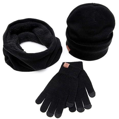 Yinroom Uomo Donna Unisex Inverno Caldo Cappello in Maglia Foderato in Pile  Beanie cap + O 69478742113a