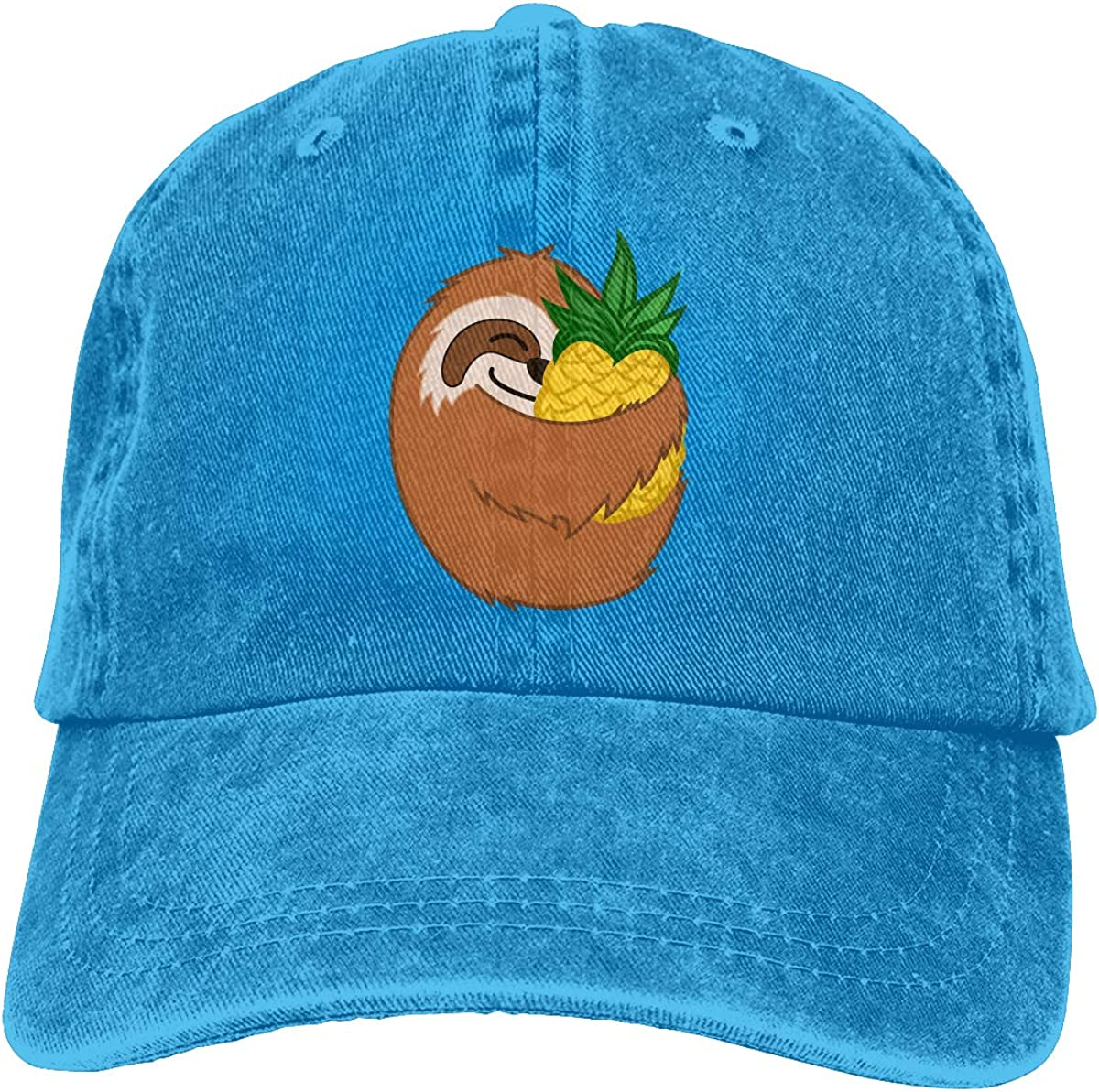 Sloth Hug Pineapple Unisex Baseball Cap Cotton Denim Fantastic Adjustable Sun Hat for Men Women Youth