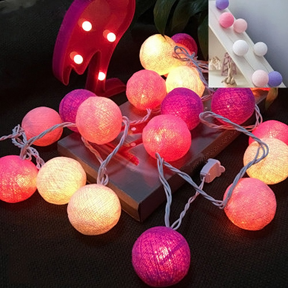 With Battery Box : New Arrival Cotton Ball Decorative String Light Thai Handmade DIY Thread 20 Balls String Lamp For Home Party Xmas Decoration