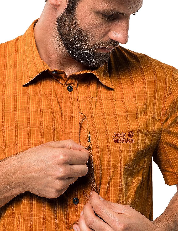 Jack Wolfskin Men's Rays Stretch Vent Short Sleeves Shirt Desert Orange Checks