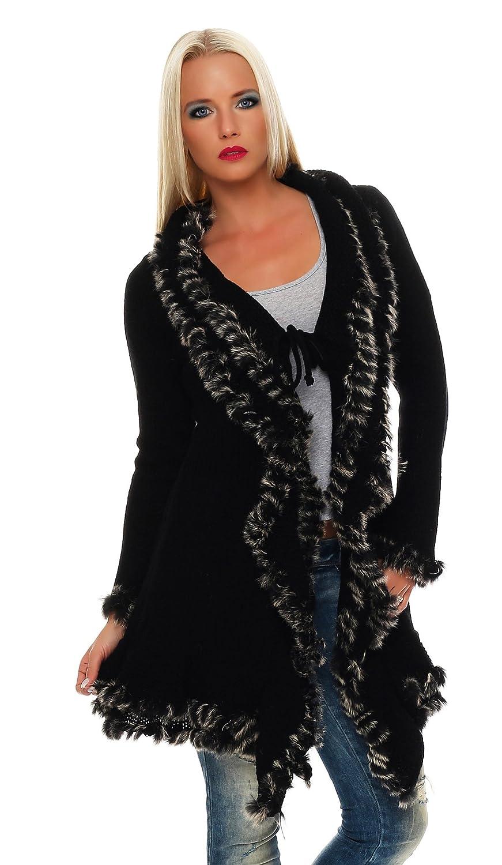 Damen Mantel tailliert Beige Blau Schwarz Strick Jacke Kunst Fell Besatz Bindegürtel Gr. S-XL