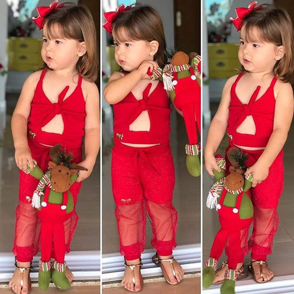 JURTEE Pantalons et Haut Enfant Toddler Infant Baby Girl Kid Ensemble De Bretelles Couleur Pure Et Ensembles De Pantalons en Tulle 18 Mois 6 Ans