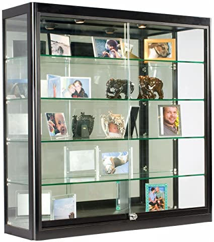 Glass Display Case That Is Wall Mounted, Illuminated, Has Locking Sliding  Glass Doors,