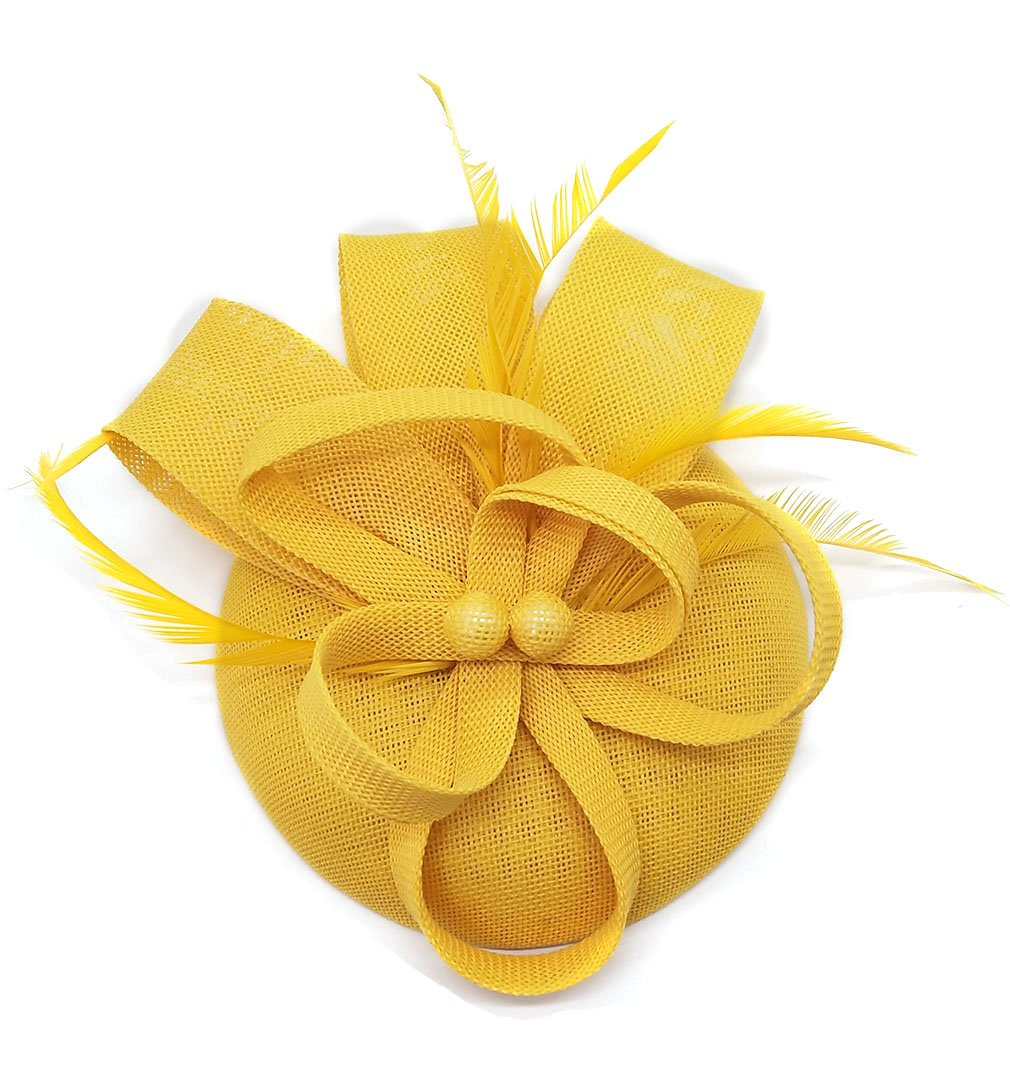 Biruil Women's Fascinator Hat Imitation Sinamay Feather Tea Party Pillbox Flower Derby (Yellow) by Biruil (Image #4)