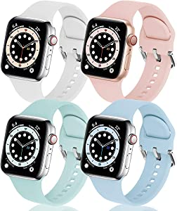 eCamframe Bands Compatible with Apple Watch Band 42mm 44mm, 4 Pack Soft Silicone Sport Replacement Wristband Compatible with iWatch Series 6 5 4 3 2 1 & SE Men Women