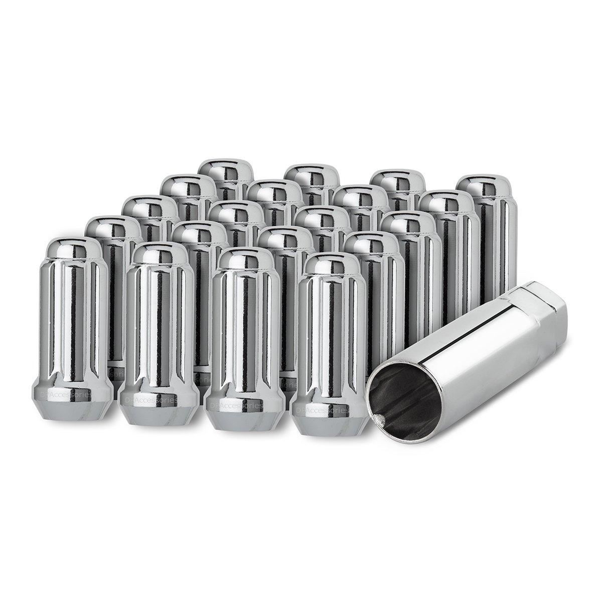 DPAccessories D5118-2305/20 20 Chrome 14x1.5 Closed End Duplex XL Spline Lug Nuts for Aftermarket Wheels Wheel Lug Nut