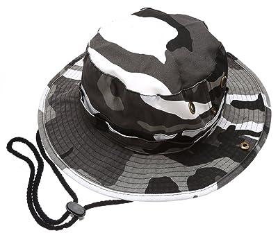b3c641aec15a2 MIRMARU Summer Outdoor Boonie Hunting Fishing Safari Bucket Sun Hat  Adjustable Strap