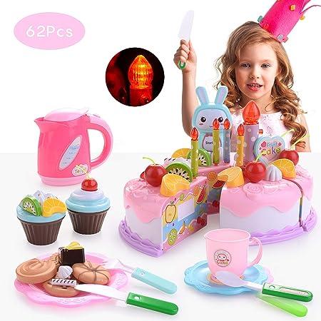 FORMIZON 62 Piezas Alimentos de Juguete, Tarta de Cumpleaños Juguete, Niños Pastel de Cumpleaños de Juguete Juguetes Educativos para Niño (Rosa)