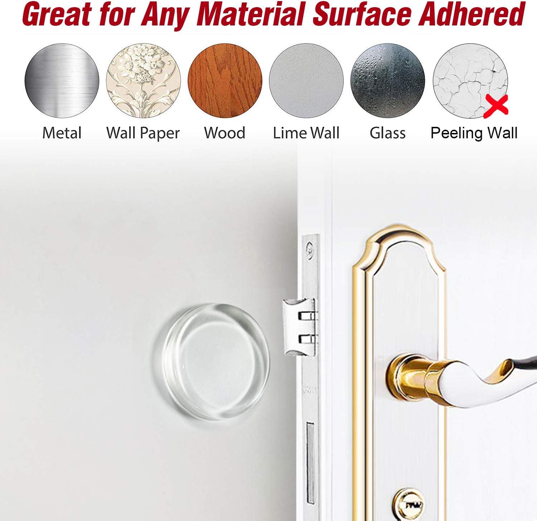 Doorknobs Refrigerator Cabinets Shock Absorbent Gel Adhesive Bumper Knob Guard for Protecting Wall Reusable Bumper Protector 1.70 Door Stopper Quiet 6 Pack Door Stopper Wall Protector Clear