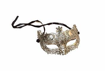 Unisex veneciano mascarada máscara plata antiguo, diseño de efecto, ideal para fiestas, disfraces