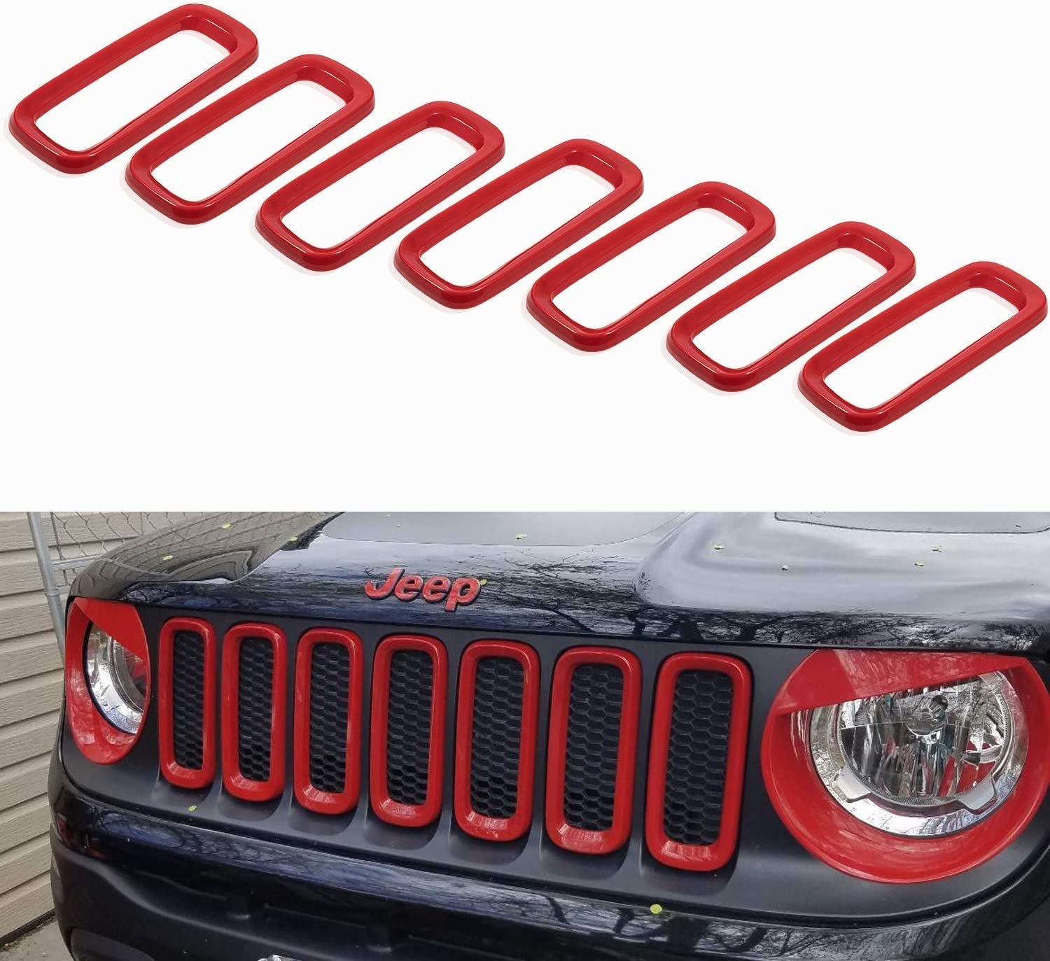 Red 7PCS /… Opall Front Grill Grille Inserts ABS Grill Guard Cover Trim for 2015 2016 2017 2018 Jeep Renegade