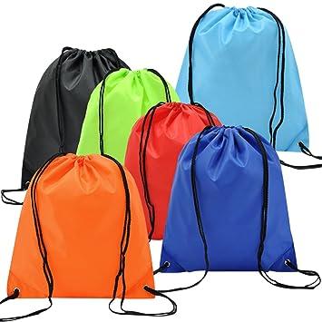6 Pack Mochila Saco Bolsa Nylon de Cuerdas, EASEHOME Saco de Deporte Bolso de Gimnasio de Viaje Bolsa para Zapatos Ropa Juguetes Bolsas Infantil Escuelas: ...